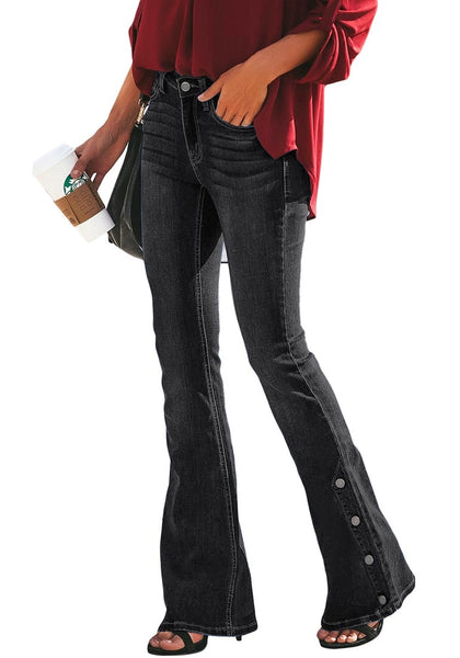 Side view of model wearing black mid-waist side buttons flared denim jeans