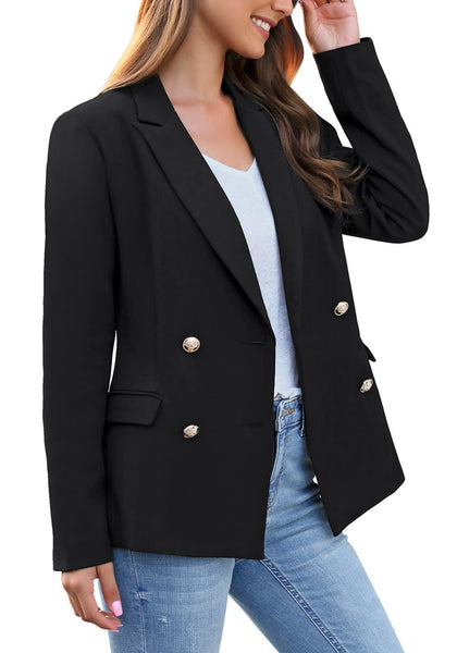 Side view of model wearing black notch lapel double-breasted blazer