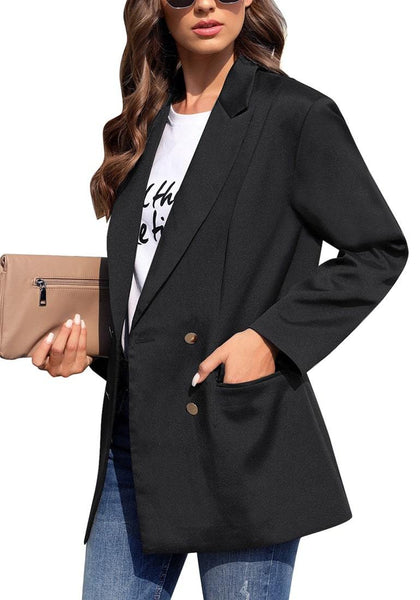 Side view of model wearing black notch lapel double-breasted side pockets blazer