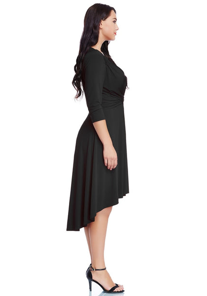 Side view of model wearing black ruched high-low dress