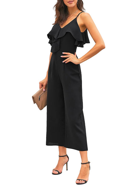 Side view of model wearing black ruffled spaghetti-strap surplice jumpsuit