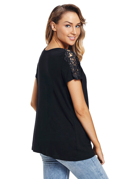Side view of model wearing black short sleeves crochet lace shoulder blouse