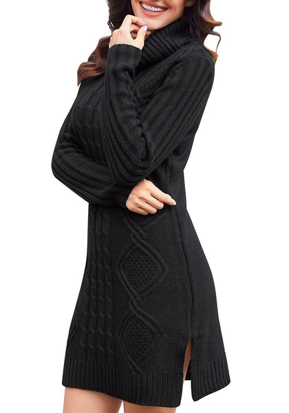 Side view of model wearing black turtleneck cable knit side slit pullover sweater dress