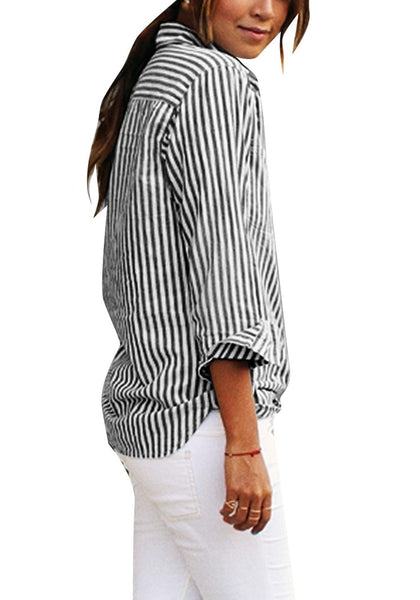 Side view of model wearing black vertical striped long sleeves button-up top