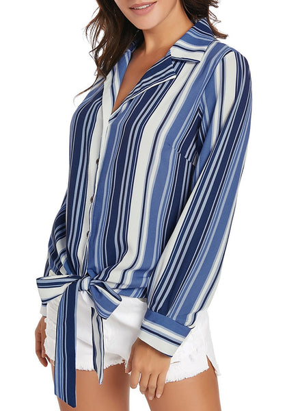 Side view of model wearing blue long sleeves tie front striped button-up top