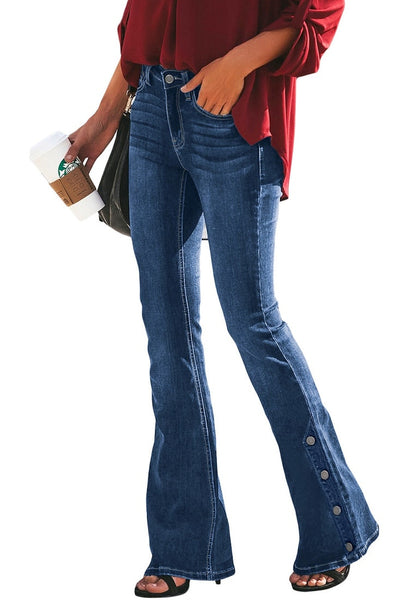Side view of model wearing blue mid-waist side buttons flared denim jeans