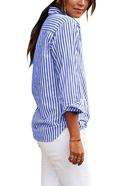 Side view of model wearing blue vertical striped long sleeves button-up top