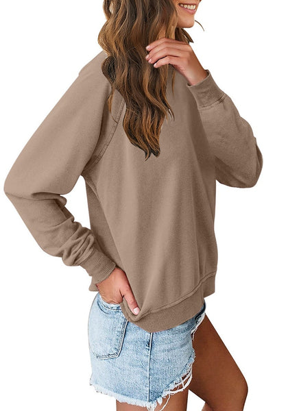 Side view of model wearing brown french terry crewneck pullover sweatshirt