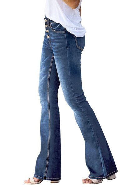 Side view of model wearing dark blue high-rise buttons flared denim jeans