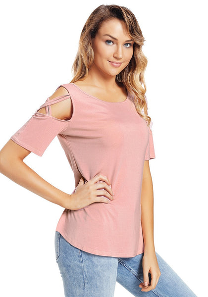 Side view of model wearing deep blush crisscross cutout shoulder blouse