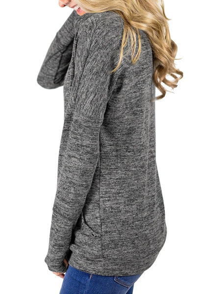 Side view of model wearing grey kangaroo pocket cowl-neck heathered pullover top