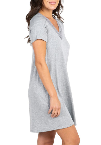 Side view of model wearing grey scallop lace-trim V-neck night dress