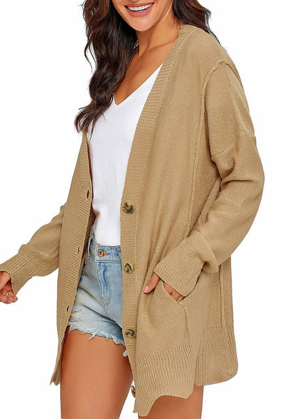Side view of model wearing khaki button-up side-pocket knit boyfriend cardigan