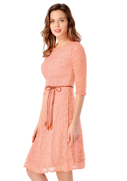 Side view of model wearing light orange lace crop sleeves A-line dress
