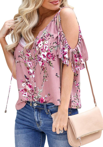 Side view of model wearing mauve pink drawstring cold-shoulder floral button-up top