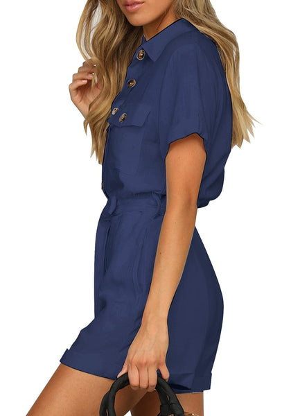 Side view of model wearing navy blue short sleeves button-down belted romper