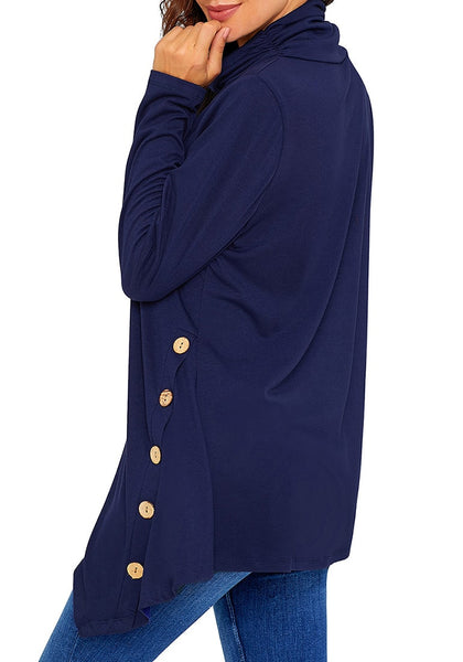 Side view of model wearing navy cowl neck buttons asymmetrical tunic top