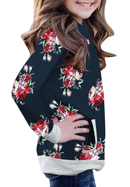 Side view of model wearing navy floral print pullover pocket girl hoodie
