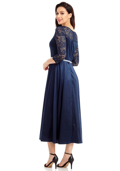 Side view of model wearing navy lace-sleeve long satin dress