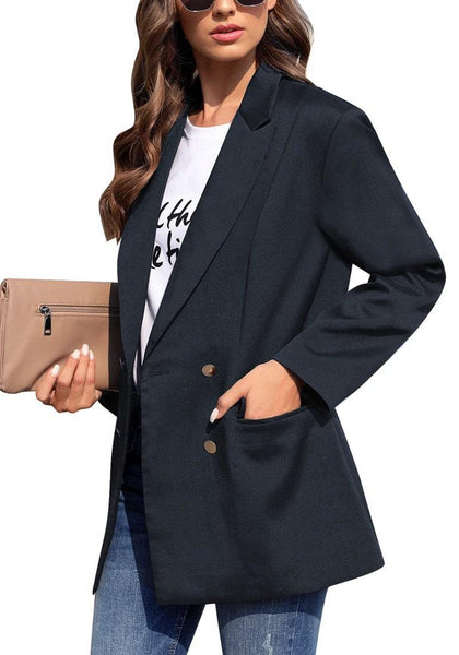 Side view of model wearing navy notch lapel double-breasted side pockets blazer