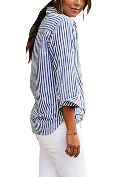 Side view of model wearing navy vertical striped long sleeves button-up top