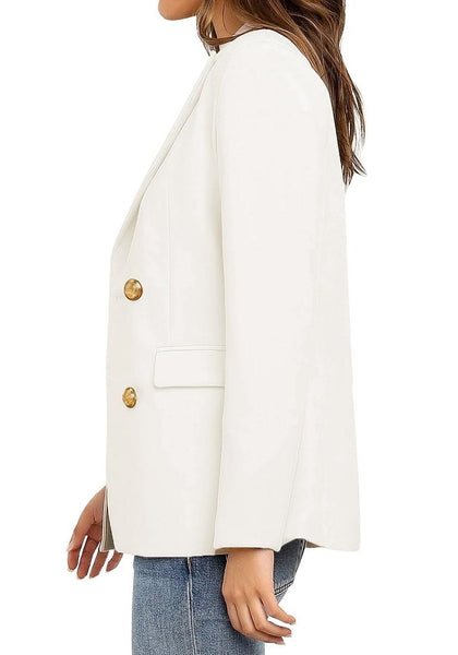 Side view of model wearing off white notch lapel double-breasted blazer