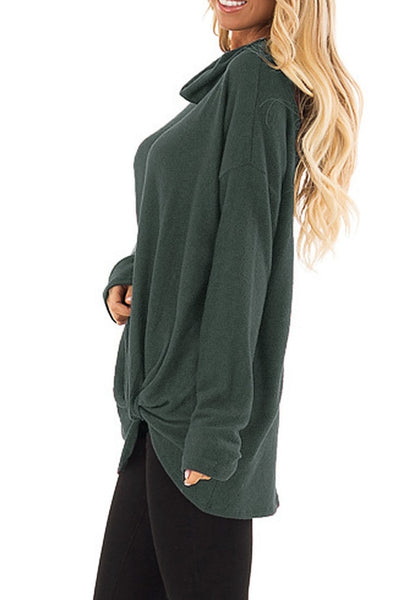 Side view of model wearing oilive green cowl neck side twist knot tunic top