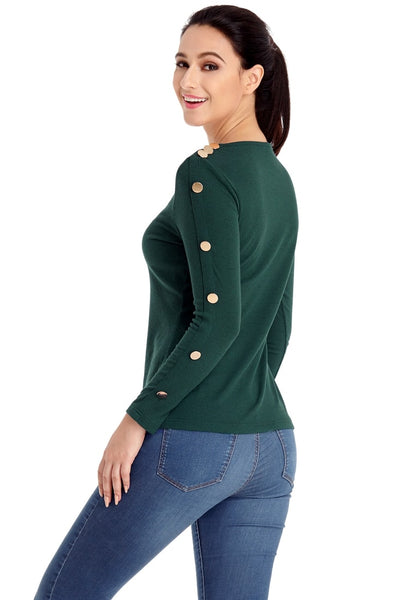 Side view of model wearing pine green button-embellished fitted top