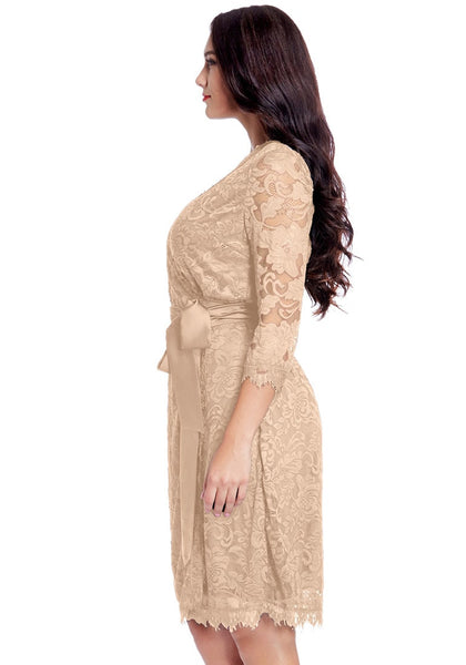 Side view of model wearing plus size beige lace crop sleeves wrap dress