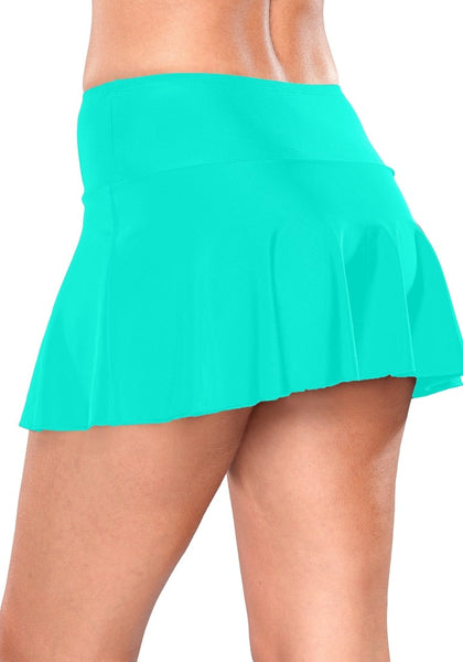 Side view of model wearing solid aqua blue flared swim skirt