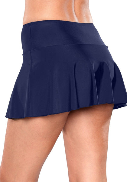 Side view of model wearing solid navy flared swim skirt