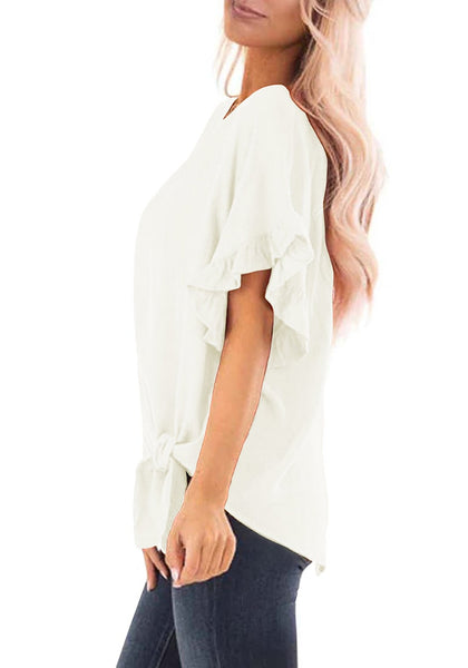 Side view of model wearing white short ruffle sleeves tie-front top