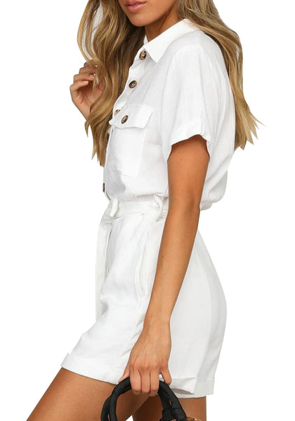 Side view of model wearing white  short sleeves button-down belted romper