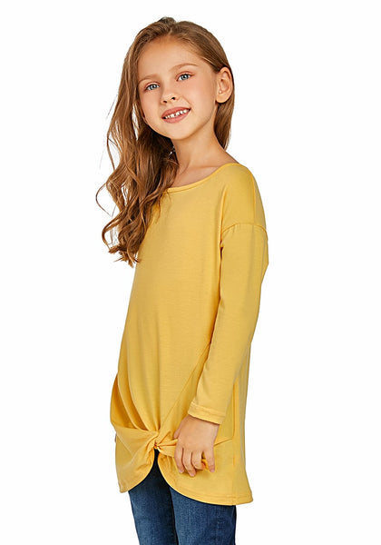 Side view of model wearing yellow long sleeves front twist knot girl top