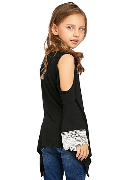 Side view of pretty model wearing black cutout shoulder crochet flare sleeves girl tunic