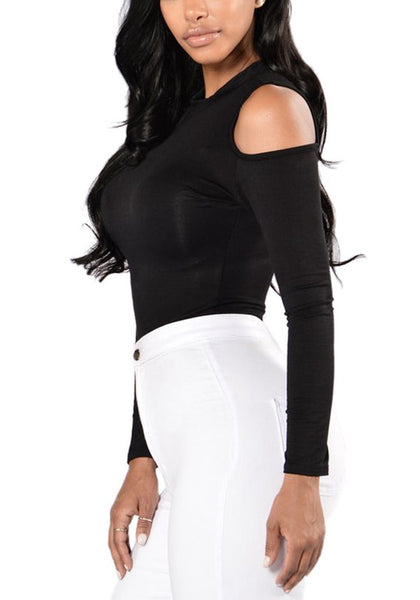 Side view of sexy model in black cold-shoulder formfitting bodysuit