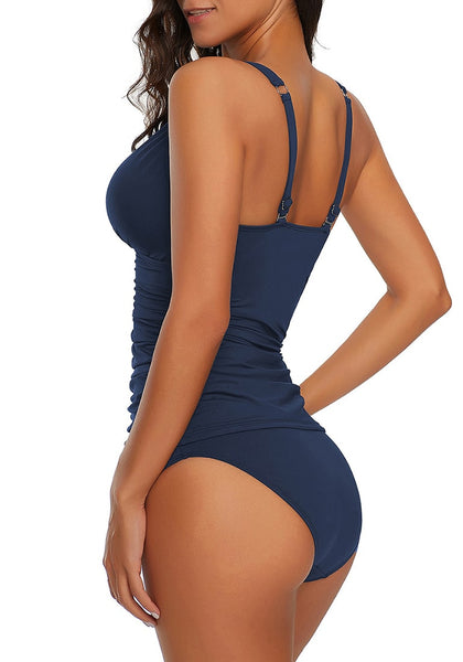 Side view of sexy model in navy V-neckline shirred-front tankini set