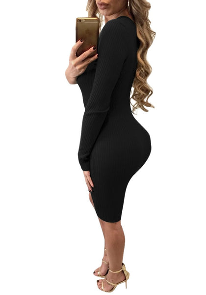 Side view of woman in black one-shoulder side buttons bodycon dress