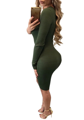 Olive Green One-Shoulder Side Buttons Bodycon Dress