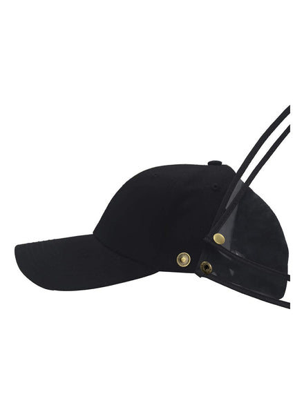 Side view of  full face baseball cap protective face shield's 3D image