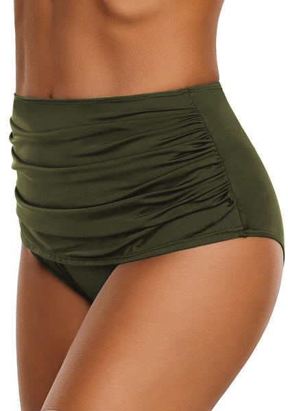 Side view of model wearing army green high waist ruched swim bottom
