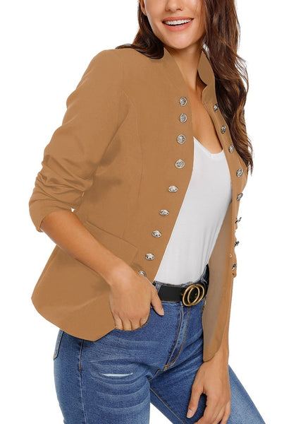 Side view of model wearing camel stand collar open-front blazer