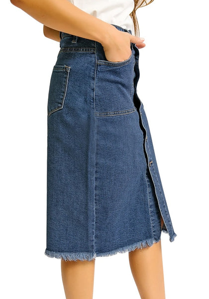 Side view of model wearing dark blue frayed hem button-down midi denim skirt
