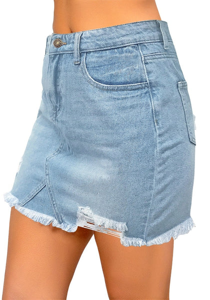Side view of model wearing light blue raw hem distressed denim mini skirt