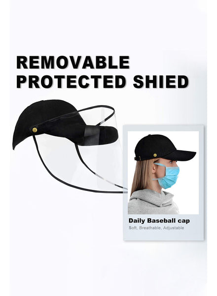 Side view of woman wearing  full face baseball cap protective face shield