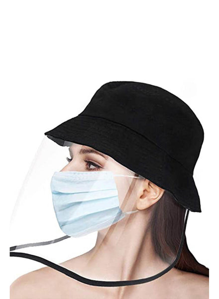 Side view of women wearing full face bucket hat protective face shield