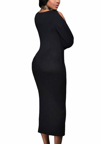 Slight back and side angle view of model in black split sleeve ruched midi dress