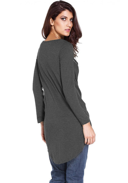 Slight back and side view of model in dark grey asymmetrical lace-up blouse