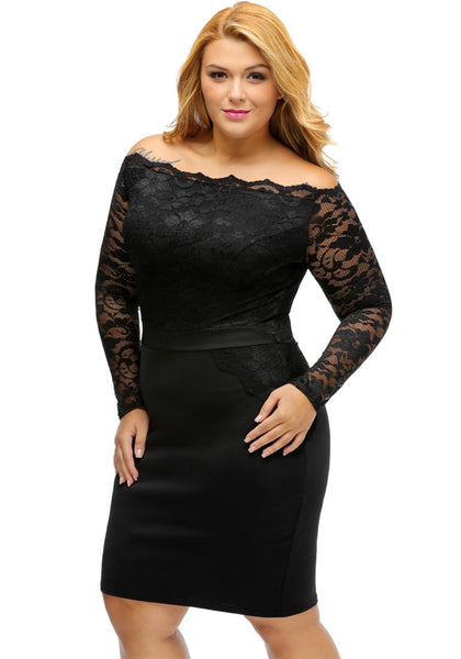 Slight left angled view of model in plus size black off-shoulder lace dress