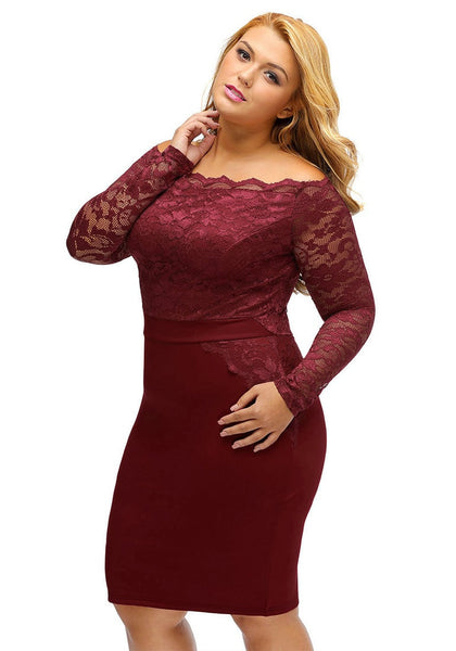 Slight left angled view of model in plus size burgundy off-shoulder lace dress